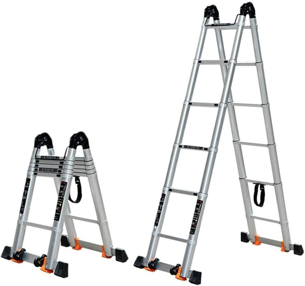 Escalera de extensión telescópica doble 2.15m Escaleras de peldaños plegables de aluminio con marco en A Escaleras telescópicas for barra estabilizadora inferior de techo tipo loft Polea portátil: Amazon.es: Hogar