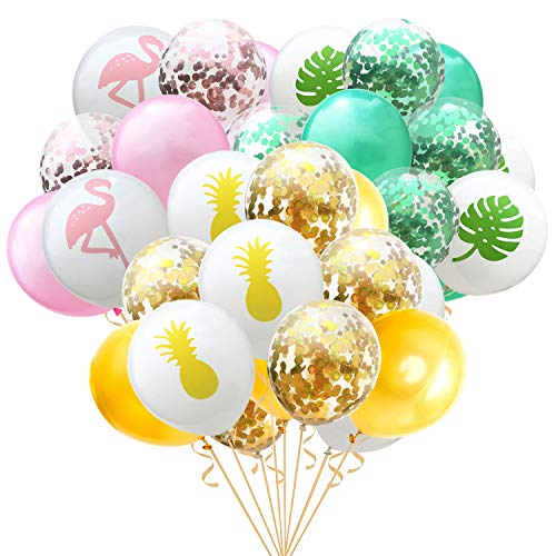 Faylapa 45 Pcs Hawaii Tropical Party Balloon,Colorful Flamingo Tropical Leaf Pineapple Latex Balloons for Hawaiian Luau Tropical Party Baby Shower Wedding -