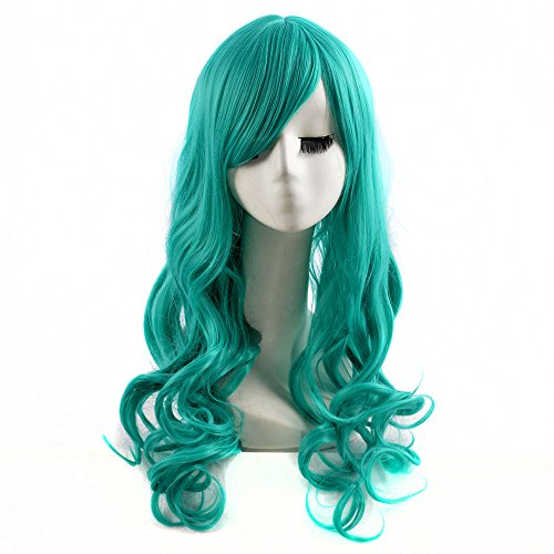 [Long Curly Women Heat Resistent Synthetic Wigs Cosplay Party Wigs BU098] (Wavy Guy Costume)