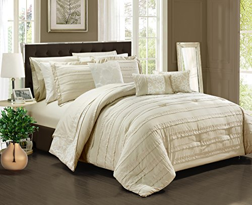 Chic Home Lea 10 Piece Reversible Comforter Bag Ruffled Pinch Pleat Motif Pattern Print Complete Bedding Set-Sheets Decorative Pillows Shams Included, Queen, Beige (Comforter Beige Set)