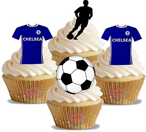 PRECUT Edible England Football Shirt Flag Cupcake Toppers Cake Decorations