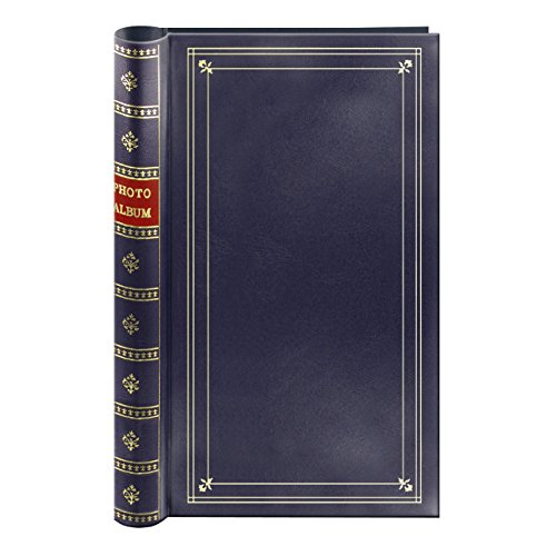 Spiral Bound Photo Album 300 Bi-Directional Memo Pockets Hold 4x6 Photos, Navy Blue