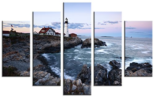 QICAI Wall Art Painting for Home Decor 5 Panels Portland Head Light at Sunrise Maine Island Coastal Lighthouse Landscape Pictures Stretched and Framed Canvas for Home Decor,5pcs/set (Portland Island Light)