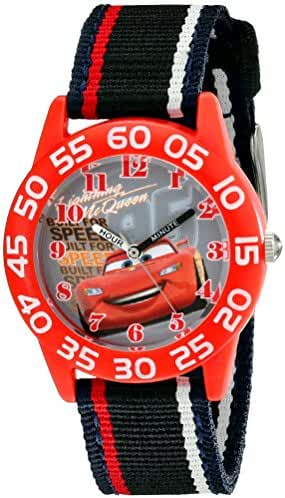Disney Kids' W001954 Cars Analog Watch With Striped Nylon Band