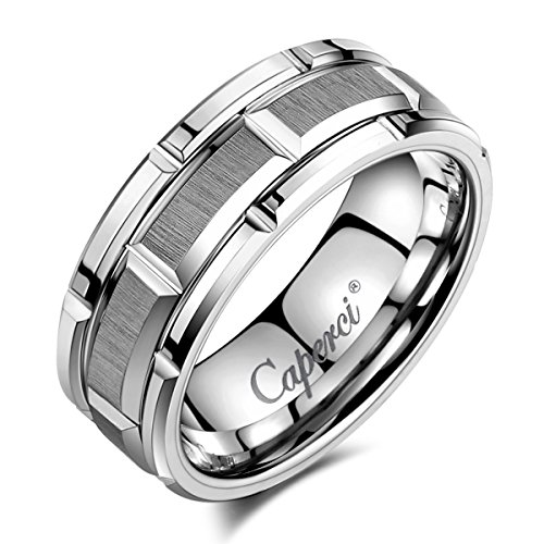 Caperci 8mm Brick Pattern Tungsten Carbide Wedding Ring for Men Size 10