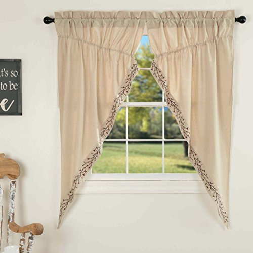 - Piper Classics Twig & Berry Vine Prairie Gathered Swag Curtains, 63