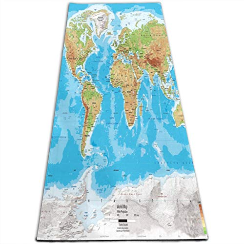 Yoga Mat WORLD MAPS HD Custom Personalized 1/4-Inch Thick Sports Mats For Pilates, Fitness & Workout