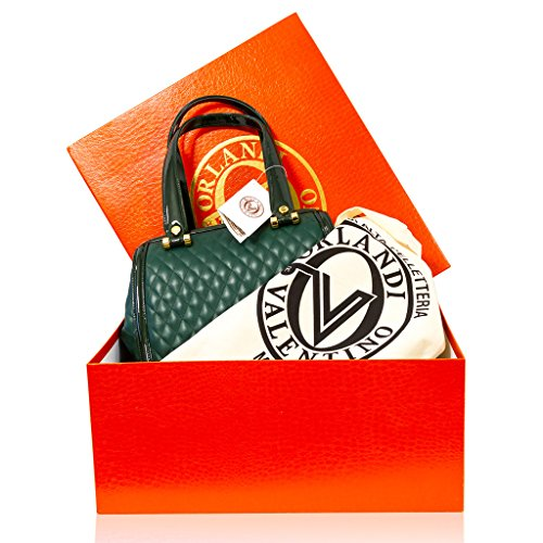 Valentino Orlandi Designer italien Green Plisse Jewelled Leather Doctor Sac à main