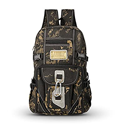 Hiking Daypack, Tengyue Canvas Backpack - Tactical Bag with Retro Bronze Decor