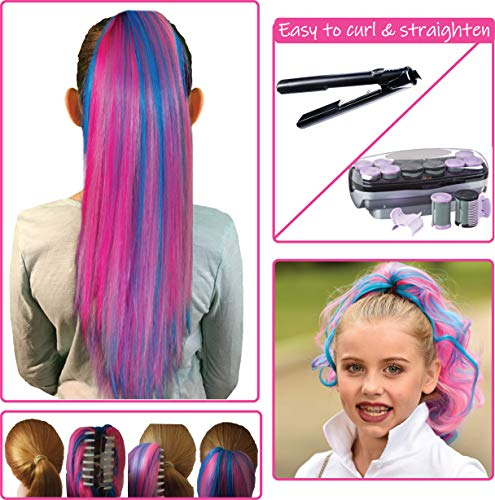 (Pink Color Hair Extensions for Kids - Temporary & Not Messy like Hair Chalk - Great Birthday Gift for Kids 4-12, Girls & Teens (18