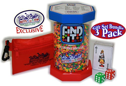 Find It Games Exclusive Mattys Toy Stop Toy & Travel Edition, Traveler Card & Dice and Cinch Storage Bag Gift Set Travel Bundle - 3 Pack