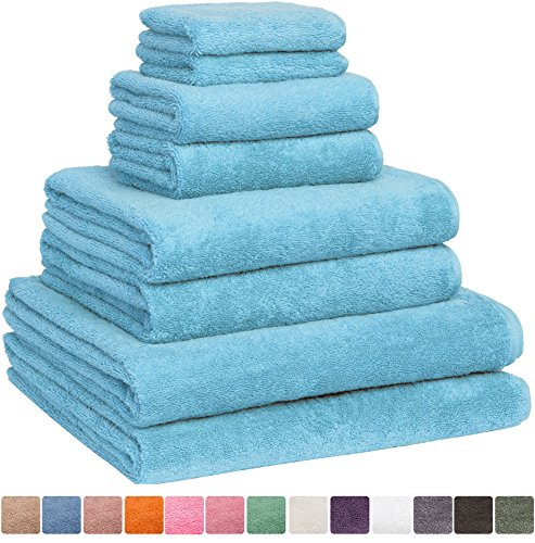 Fast Drying Extra Large Bath Towel Set, Decorative & Luxury Premium Turkish Cotton Towels for Clearance – Spa & Hotel Quality – Pack of 8 including 2 Oversized Bath Sheets (30×60) – Aqua