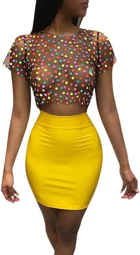 AiBarle - Conjunto de Camiseta de Mujer Sexy con diseño de Lunares ...