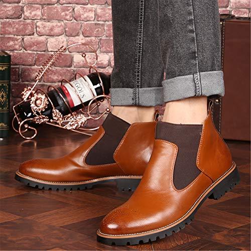 Rosso Nero Moda 46 Flat Stivaletti Eleganti Stivali Boots Chelsea Pelle Marrone Foderata Invernali 38 Vintage Uomo Bassi Business Scarpe Aw64a1q