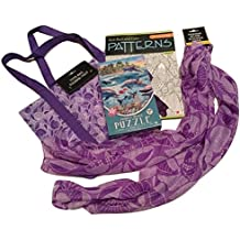 Decorative Fashion Scarf; Ocean-theme, Seashells w/ Matching Tote Bag, 500-pc Jigsaw Puzzle, Adult Coloring Book; 4-pc