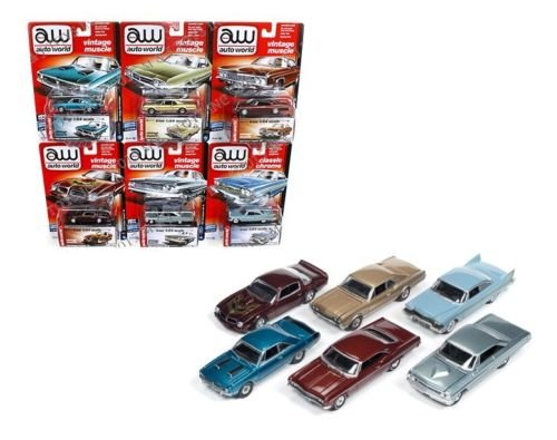New 1:64 AUTO WORLD PREMIUM SERIES RELEASE 42D VINTAGE MUSCLE & CLASSIC CHROME SET Diecast Model Car By Auto World Set of 6 Cars (Ford Galaxie 1958)