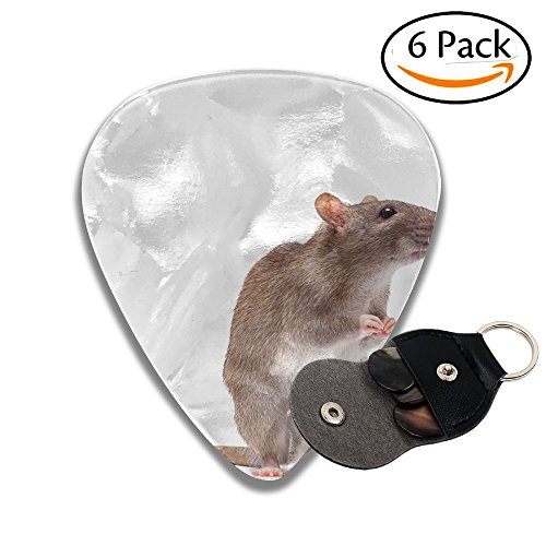 Wxf Cute Domestic Brown Rat Standing N A Tiptoe Stylish Celluloid Guitar Picks Plectrums For Guitar Bass .46mm 6 Pack