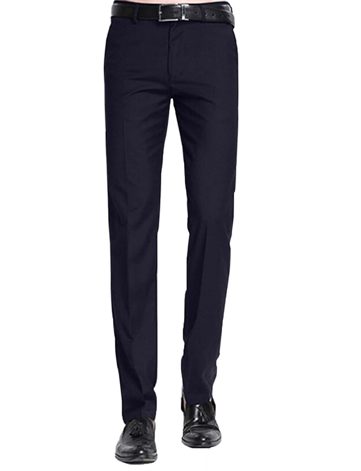 JYDress Mens Wrinkle-Free Slim Fit Stretch Casual Pants Flat Front Suit Pants PS81131