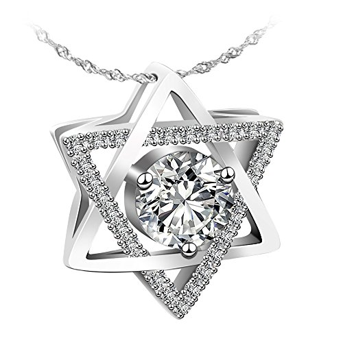 Jewelry Sterling Silver Pendant Necklace Hexagram / Star of David Necklace Exquisite Gift Package (Of David Star Mosaic)