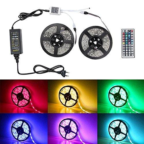 LED RGB Strip - Badalink 10m Streifen 5050 Lichterkette Band Licht, Dekoration Leuchte mit Farbwechsel, 44 Tasten Fernbedienung, inkl. 300 SMD, 20 Farben, 12V 6A