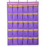 Wander Agio 30-pocket Hanging Over-the-door School Wall for Phone or Sundries and Jewelry Accessories Oxford Cloth Closet Organizer Blue