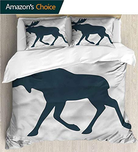Female Moose - carmaxs-home 3D Bedding Quilt Set,Box Stitched,Soft,Breathable,Hypoallergenic,Fade Resistant Reversible Coverlet,Bedspread,Gifts for Girls Women-Moose Wild Canadian Deer Pattern (90