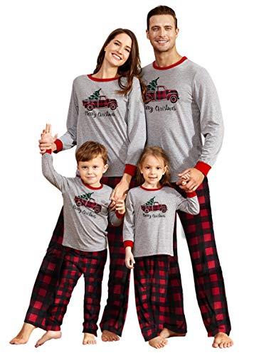 Plaid Family Christmas Pajamas 2020 Long Sleeve Rudolph Print Matching Christmas Pjs for Family of 3 Plaid Print Pants with Blouse Xmas Family Clothes Pajamas