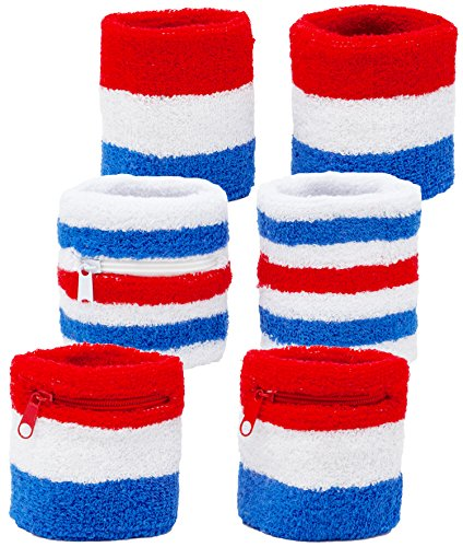 Funny Guy Mugs USA Unisex Wristband Set (6-Pack: 3 Wristbands with Zipper Pockets & 3 Regular - Wristband Pack Set 3