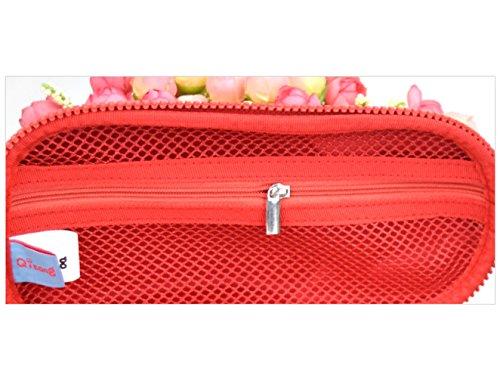 cuddty Creative Funktionellem Pen Tasche stabiler Bleistift Case Organizer Große Kapazität Stationery Case mit Reißverschluss für Studenten rot schwarz