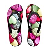 Couple Slipper Candy Choco Heart Print Flip Flops Unisex Chic Sandals Rubber Non-Slip Spa Thong Slippers