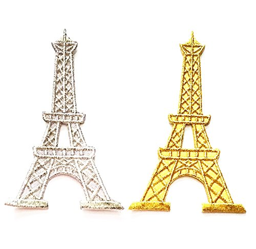 Nipitshop Patches Set 2 Pcs Eiffel Tower Paris France French landmark white Gold embroidered embroidered applique iron-on patch For Clothes Backpacks T-shirt Jeans Skirt vests scarf Hat Bag