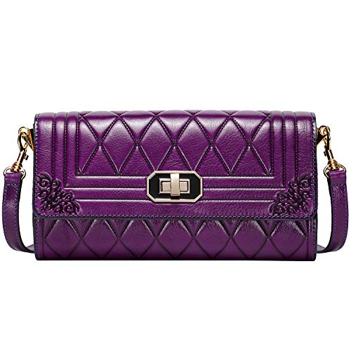 PIJUSHI Designer Clutch For Women Quilted Chain Handbag Leather Cross Body Shoulder Purses (99868 Violet)