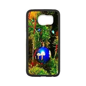 Samsung Galaxy S6 Phone Case Funda Cubierta Negro Caso del árbol de navidad guirnalda oropel Bolas vacaciones N4O3ZY plástico Teléfono Funda Cubre Borrar