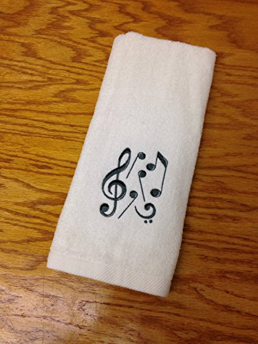 music notes embroidered bathroom hand towel - Bathroom Hand Towels