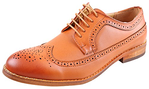 Urban Fox Everette Men's Dress Shoe | Brogue | Round Toe | Oxford Shoes | Dress Shoes Men | Light Brown (Oxford Slip Heels)