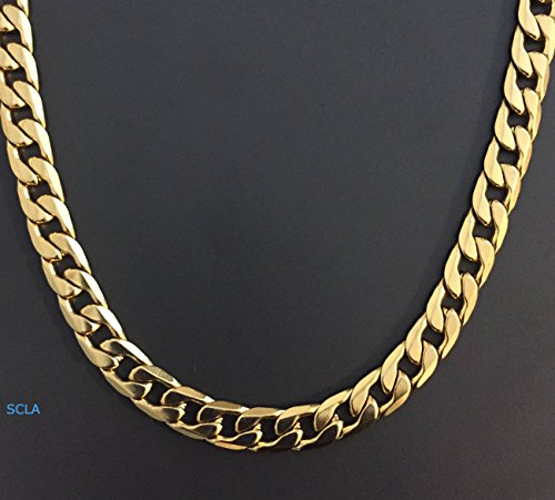 Gold-chain-necklace-10mm-Smooth-Cuban-Curb-Link-24K-Real-Gold-Plated-LIFE-TIME-WARRANTY-USA-made