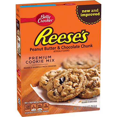 Betty Crocker Baking Mix, Premium Cookie Mix, Reese's Peanut Butter & Chocolate Chunk, 12.5 Oz Box (Pack of 8) - Peanut Butter Cookie Mix