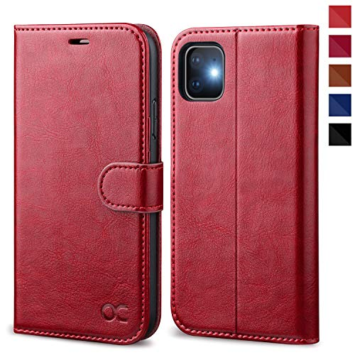 OCASE iPhone 11 Case, iPhone 11 Wallet Case with Card Holder, Leather Flip Case with Kickstand and Magnetic Closure, TPU Shockproof Interior Protective Cover for iPhone 11 6.1 Inch (Red)