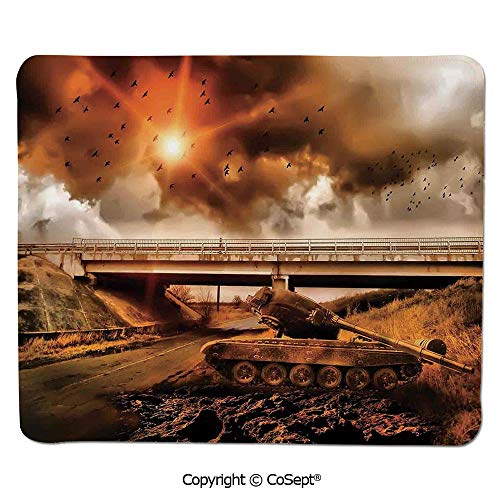 Mouse Pad,Gloomy Sky with Dark Cloud and Bird Over Warfare with Armoured Tank in Road,Water-Resistant,Non-Slip Base,Ideal for Gaming (15.74