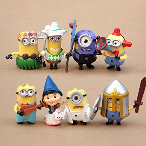 [New Set of 8pcs Despicable me 2 Cute Movie Character Figures Minions Doll Toy] (Teeth Movie Online)