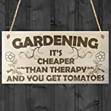Red Ocean Gardening Its Cheaper Than Therapy And You Get Tomatoes Novelty Wooden Plaque Funny Gardening Garden Sign Gift by Red Ocean