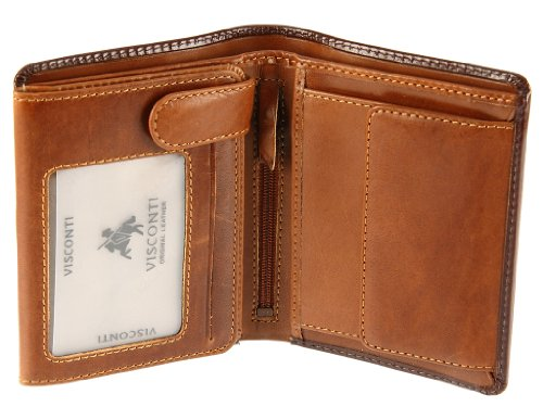 Visconti TR-34 Classic TriFold Wallet Passcase/ID Wallet made of Veg Tan Leather (Brown/Tan)