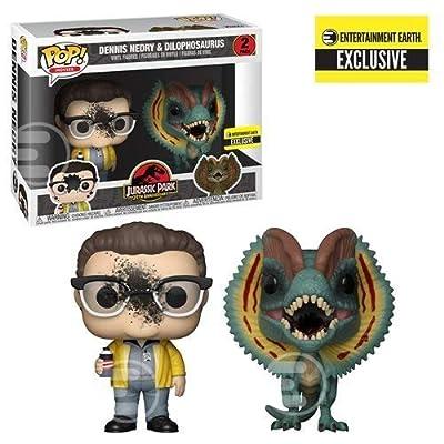 Funko Pop Movies: Jurassic Park - Dennis Nedry and Dilophosaurus Goo-Splattered Pop! Vinyl Figure 2-Pack - Entertainment Earth Exclusive: Toys & Games