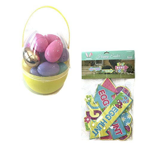 Easter Egg Hunt Supply Bundle: Includes Jumbo Nested Egg filled with Easter Eggs and Golden Egg, 3 Easter Egg Yard (Jumbo White Bunny Kit)