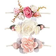 Ncmama Baby Girls 17  Headbands Big Pink Floral Hair Bows Elastic Bands for Toddler Kids Hairbands