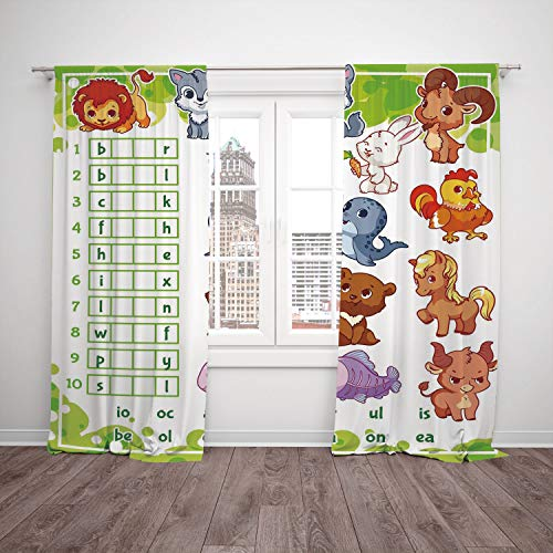 2 Panel Set Window Drapes Kitchen Curtains,Word Search Puzzle Rebus Game with Animals for Preschool Kids Find Correct Part of Words Decorative Multicolor,for Bedroom Living Room Dorm Kitchen -