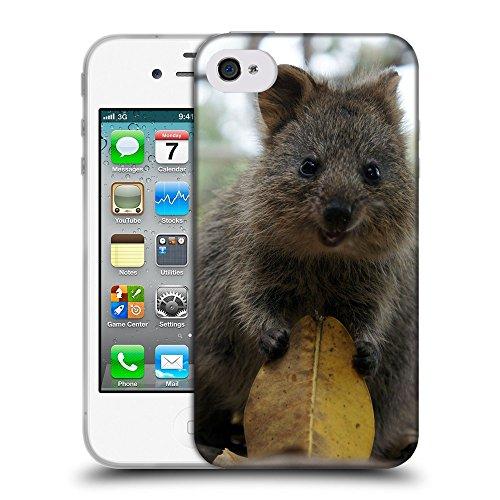 Just Phone Cases Coque de Protection TPU Silicone Case pour // V00004134 Bêtes à queue courte kangourou // Apple iPhone 4 4S 4G