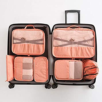 6ea4f46cdd4c Amazon.com : Saasiiyo 7pcs/set Men Travel Bags Sets Waterproof ...
