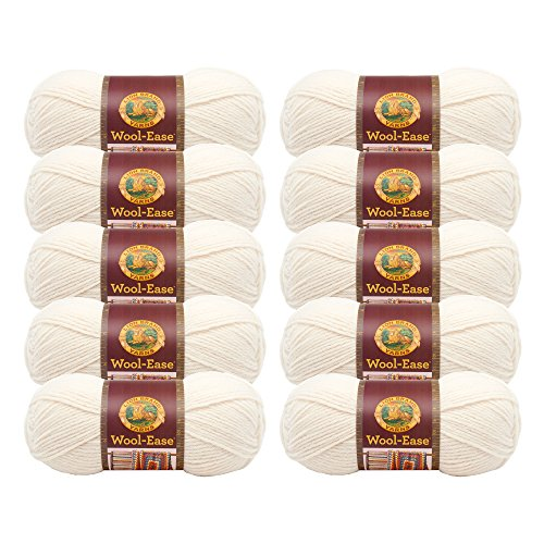 (10 Pack) Lion Brand Yarn 620-099 Wool-Ease Yarn, Fisherman (Wool Fishermans Yarn)