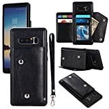 Gostyle Galaxy Note 8 Wallet Case,Samsung Galaxy Note 8 Case with Credit Card Slots,Fashion Multifunction Premium PU Leather Cover with Kickstand Cash Pocket Hand Strap Shockproof Cover,Black